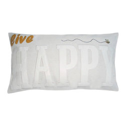 5 Surry Lane - Live Happy Modern Word Applique Cotton Decorative Pillow - Neutral with a pop of color, our word pillow will go with any design aesthetic or color scheme.  The popular style is more sophisticated than ever!  100% cotton.  Down insert.  Hidden zipper closure.  14x24.  Hand wash cold water.