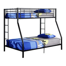 Walker Edison - Walker Edison Sunset Metal Twin/Double Bunk Bed - Black X-LBDOTB - This simple, yet contemporary twin-over-double bunk bed conveys chic style with its clean lines and beautiful finish. The sturdy, steel-crafted frame promises stability and function to support up to 250 pounds. Designed with safety in mind, this bunk bed includes full length guardrails and two integrated ladders for dual access to the top bunk. An ideal space-saver and a perfect addition for growing families.Features:&#8226: Stylish, contemporary design&#8226: Sturdy, steel construction&#8226: Support slats included, no box spring needed&#8226: Each bunk supports 250 lbs.&#8226: Attractive, powder-coated finish&#8226: Conforms to the latest consumer product safety standards&#8226: Ideal for space-saving needs&#8226: Maximum recommended upper mattress thickness of 9 in.&#8226: Does NOT include mattresses or bedding&#8226: Ships ready-to-assemble with necessary hardware and tools&#8226: Assembly instructions included with toll-free number and online support
