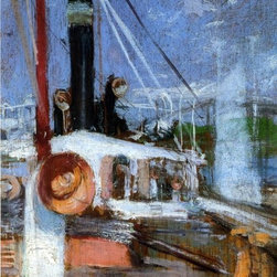 """John Twachtman Aboard a Steamer - 16"""" x 24"""" Premium Archival Print - 16"""" x 24"""" John Twachtman Aboard a Steamer premium archival print reproduced to meet museum quality standards. Our museum quality archival prints are produced using high-precision print technology for a more accurate reproduction printed on high quality, heavyweight matte presentation paper with fade-resistant, archival inks. Our progressive business model allows us to offer works of art to you at the best wholesale pricing, significantly less than art gallery prices, affordable to all. This line of artwork is produced with extra white border space (if you choose to have it framed, for your framer to work with to frame properly or utilize a larger mat and/or frame).  We present a comprehensive collection of exceptional art reproductions byJohn Twachtman."""