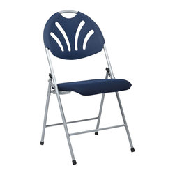 Office Star - Office Star FC Series Set of 4 Plastic Folding Chair in Blue and Silver - Office Star - Folding Chairs - FC8100NS7 -Folding Chair with Blue Plastic Fan Back and Fabric Seat with Silver Frame (4-Pack). Convenient for outdoors or an extra seat for a guest, this folding chair comes in a multiple color selection of your choice. Also, the office star is easy to store away until the next time you need it.