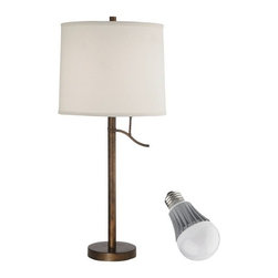 Design Classics Lighting - Bronze Table Lamp with Drum Shade and LED Light Bulb - DCL 6729-604 LED KIT - Remington bronze finish table lamp with Clever Lever Switch� and white drum lamp shade with 9.5-watt LED light bulb, equivalent to 60-watts incandescent. Features a medium base with white diffuser and vented heat sink. Takes (1) 9.5-watt LED A19 bulb(s). Bulb(s) included. UL listed. Dry location rated.