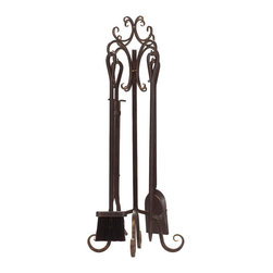 Panacea - Megan Fireplace Tools, 5-Piece Set - Finished in bronze, this five piece tool set will get the job done for your indoor fireplace. It has a broom, shovel, poker and tongs and hangs on a stand with nicely forged curls at the feet and top.