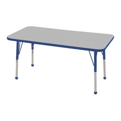 "ECR4Kids - 24"" x 48"" Rectangular Adjustable Activity Table in Gray - ELR-14107-XX: Table tops feature stain-resistant and easy to clean laminate on both sides with edge banding and color-coordinated adjustable height legs. ECR adjustable leg activity tables feature 1.125 thick tabletops with laminate on both the top and bottom. Color-coordinated powder-coated upper legs, edgebanding, and matching polypropylene ball glides in the most popular classroom colors. Will not fade or discolor. Safe, non-toxic, stain-resistant and easy to clean. Tabletop Details: -Laminate table tops are 1.125 thick and are laminated on both sides. -Color-banding grips into the tabletop edges. -Color banding is made from PET and contains no phthalates. -The table substructure is made from medium-density particleboard (47 lb/ft³) that is at least 90% recycled (minimum 4% post-consumer, balance pre-consumer).. -EPP certified, CARB compliant and may contribute to US Green Building Councils LEED Credits. -18 gauge galvanized steel stability bars, with poly caps, installed on underside of all 66 - 72 length tables. -Superior shipping materials meet or exceed ISTA regulations. Leg Details: -Powder-paint coated upper leg. -Chrome-plated adjustable lower leg insert. -Legs are adjustable in 1 increments. -Threaded adjustment holes in chrome lower leg keeps legs securely in place. -Color coordinated polypropylene ball glides and nylon swivel glides available. -Easy mount leg installation with pre-installed brackets and pre- drilled screw holes for easy alignment. -Toddler Leg size (15"" - 23""). -Standard Leg size (19"" - 30""). -Chunky Leg size (15"" - 24"")."