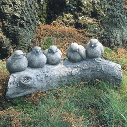 Campania International Birds on a Log Cast Stone Garden Statue - About Campania InternationalEstablished in 1984, Campania International's reputation has been built on quality original products and service. Originally selling terra cotta planters, Campania soon began to research and develop the design and manufacture of cast stone garden planters and ornaments. Campania is also an importer and wholesaler of garden products, including polyethylene, terra cotta, glazed pottery, cast iron, and fiberglass planters as well as classic garden structures, fountains, and cast resin statuary.Campania Cast Stone: The ProcessThe creation of Campania's cast stone pieces begins and ends by hand. From the creation of an original design, making of a mold, pouring the cast stone, application of the patina to the final packing of an order, the process is both technical and artistic. As many as 30 pairs of hands are involved in the creation of each Campania piece in a labor intensive 15 step process.The process begins either with the creation of an original copyrighted design by Campania's artisans or an antique original. Antique originals will often require some restoration work, which is also done in-house by expert craftsmen. Campania's mold making department will then begin a multi-step process to create a production mold which will properly replicate the detail and texture of the original piece. Depending on its size and complexity, a mold can take as long as three months to complete. Campania creates in excess of 700 molds per year.After a mold is completed, it is moved to the production area where a team individually hand pours the liquid cast stone mixture into the mold and employs special techniques to remove air bubbles. Campania carefully monitors the PSI of every piece. PSI (pounds per square inch) measures the strength of every piece to ensure durability. The PSI of Campania pieces is currently engineered at approximately 7500 for optimum strength. Each piece is air-dried and then de-molded by hand. After an internal quality check, pieces are sent to a finishing department where seams are ground and any air holes caused by the pouring process are filled and smoothed. Pieces are then placed on a pallet for stocking in the warehouse.All Campania pieces are produced and stocked in natural cast stone. When a customer's order is placed, pieces are pulled and unless a piece is requested in natural cast stone, it is finished in a unique patinas. All patinas are applied by hand in a multi-step process; some patinas require three separate color applications. A finisher's skill in applying the patina and wiping away any excess to highlight detail requires not only technical skill, but also true artistic sensibility. Every Campania piece becomes a unique and original work of garden art as a result.After the patina is dry, the piece is then quality inspected. All pieces of a customer's order are batched and checked for completeness. A two-person packing team will then pack the order by hand into gaylord boxes on pallets. The packing material used is excelsior, a natural wood product that has no chemical additives and may be recycled as display material, repacking customer orders, mulch,or even bedding for animals. This exhaustive process ensures that Campania will remain a popular and beloved choice when it comes to garden decor.Please note this product does not ship to Pennsylvania.