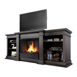 """Real Flame - Fresno Ventless Gel Fireplace in Dark Walnut - Uses clean burning Real Flame gel fuel emitting up to 9,000 BTUs of heat per hour lasting up to 3 hours.. Uses Only Real Flame 13oz Gel Fuel Cans, not included. Fireplace includes wooden mantel, firebox, hand painted cast-concrete log, and screen kit.. Fits up to a 50"""" diagonal TV - 100lb. weight limit.. Solid wood and veneered MDF construction. Shelf dimensions: 17"""" x 14.5"""". 71.73 in. W x 19 in. D x 29.88 in. H (143.8 lbs.)Enjoy the crackle and ambiance of a Real Flame fireplace, this substantial freestanding fireplace also doubles as an entertainment center. This unit is able to hold a 50"""" diagonal  television of 100 lbs. or less and has adjustable shelving, to accommodate most electronics. Uses 13 oz. cans of Real Flame Gel Fuel."""