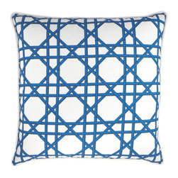 "NECTARmodern - Bamboo Cane wicker weave throw pillow 20"" x 20"" - Blue bamboo canes in a wicker weave pattern enlivens any chair, sofa, or bed. White rolled piping around the edge. Solid blue back. Designer quality cover with overstuffed feather/down insert."