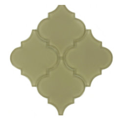 "Euro Glass - Garden Statue - Sold by the Box Unique Shapes Cream/Beige Kitchen Glossy Glass - Tile Size: 5 1/4"" x 6 1/4"""