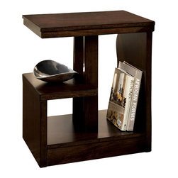 Signature Design by Ashley - Contemporary Dark Brown Chairside End Table w - Enjoy this chairside end table in your living area and implement the multi-level shelves and display and storage areas. Made from hardwoods, this item is durable and long lasting while providing a stylish accent for both traditional and modern d̩cor themes. Color/Finish: Dark Brown. Made with select veneer and hardwood solids. Cantilever design. 22 in. W x 16 in. L x 25 in. H