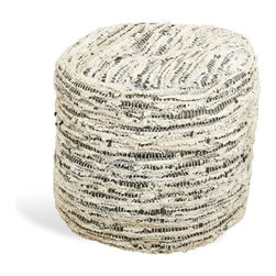 Interlude - Everton Ottoman - Sophisticated fabric ottoman.  Perfect for bunching and party seating.