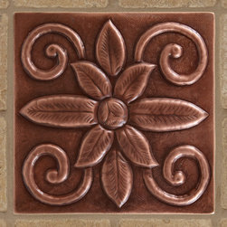 """8"""" Solid Copper Wall Tile with Swirled Flower Design - Antique Copper Patina - With its decorative emblem, the Solid Copper Wall Tile with Swirled Flower Design is an attractive way to add an earthy element to your decor."""