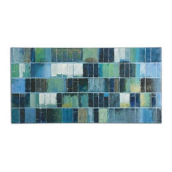 Billy Moon - Billy Moon Glass Tiles Contemporary / Modern Wall Art / Wall Decor X-00343 - Vibrant blues and greens are used in creating this hand painted artwork on canvas. The high gloss and glitter finish make this a mesmerizing piece of art. The canvas is stretched and applied to wooden stretching bars. Due to the handcrafted nature of this artwork, each piece may have subtle differences.
