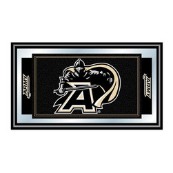Trademark Global - Wood Framed Wall Mirror w Army-US Military Ac - The official United States Army Black Knights logo highlights this football themed wall mirror, an ideal gift for your favorite sports fan. The mirror has a black wrapped wood frame and features the Black Knight logo in the center, gleaming steel sword in hand. Great for gifts and recreation decor. Mirror with high quality print. Logo and mascot are shown in team colors. Black wrapped wood frames. 26 in. W x 15 in. H (7 lbs.)This officially licensed NCAA mirror is the perfect gift for the College Sports Fan in your life. Full of your favorite team's colors, this is a must have for your wall!