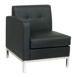 Ave Six - Left Arm Faux Leather Lounge Chair in Black w - Stylish on its own or as part of a sectional in your office reception area, this left facing arm chair will bring a modern appeal to your space. It features a hardwood frame and is upholstered in faux leather in a rich shade of espresso. Button tufted accents and a steel base in chrome tone finish add contemporary charm. RTA design for convenience and easy shipping. Minimal tools required for quick and easy assembly. Foam-Filled back and seat cushions. Protective floor glides. Black faux leather. Some assembly required. Seat: 23 in. W x 22 in. D. Back: 23 in. W x 16 in. H. Overall: 28.5 in. W x 26.5 in. L x 30 in. H ( 50 lbs.)