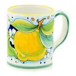 Artistica - Hand Made in Italy - DERUTA FRUTTA: Large Mug Lemon Design - 16 oz. - DERUTA FRUTTA Collection: Masterfully hand painted in Deruta Italy this collection features one of the most painstakingly painted fruits and leaves pattern exclusively made for Artistica by a small artisan shop located in the renown Via Tiberina that cross through Deruta.