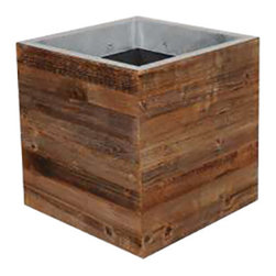 Square Planter - Square planter made of reclaimed wood with a metal lining. Indoor use only.