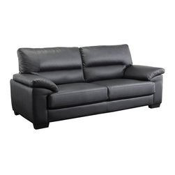 Coaster - Juniper Black Leather Sofa - High split back cushions and generously padded arms are designed with high resilience foam to bring you that sink-in comfort while retaining the support for every movie marathon and game night. Covered in top quality man-made leather for durability and everyday use.