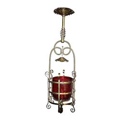 Pre-owned Moroccan Vibe Plantation Pendant - An old plantation fixture rescued from South Carolina, although something about it strikes us as Moroccan. Art glass shade is swirled cranberry; updated wiring in working condition (uses standard chandelier bulb). A beautiful piece of Southern history.