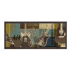 illumalite Designs - Guitar Collage Plaque w Pegs in Brown - Includes hanging hardware. Solid wood base. Made in USA. 20.5 in. W x 4 in. D x 9 in. H (2.50 lbs.)