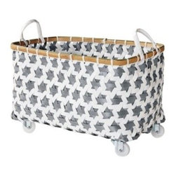Serena & Lily - Mercado Rolling Basket Pewter - Here's an inventive repurposing of plastic pallet strapping and we just love these bins for their versatility and cheery disposition. Get the whole collection in your favorite color, or mix and match for a more playful look. A split bamboo rim adds a warm note.