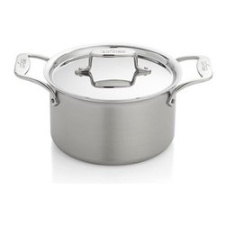 All-Clad® d5 4 qt. Soup Pot - Offering maximum efficiency through modern technology, the d5 line from All-Clad bonds five distinct layers in a perfect harmony of cooking performance. Dishwasher-safe cookware features a patented, three-layer aluminum and steel core that propels heat sideways, eliminating hot spots and driving through the entire pan, not just the base. This heat and the non-reactive stainless steel interior create the optimal cooking surface, and the magnetic exterior layer is well suited to induction cooktops as well as traditional gas and electric stoves. Pans are designed with flared sides for easy pouring, and redesigned stainless steel handles are cool, comfortable and ergonomically balanced for reduced stress when lifting. Fitted stainless steel lid has a larger handle more compatible with oven mitts.