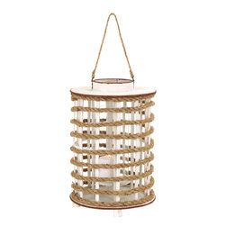 Benzara - Wooden Chic Glass Delicate Lantern with Rope Extension - This wood and rope lantern will make for an excellent decorative item that is distinctive and one in its kind. Very alluring and dainty, a good number of these glowing lanterns will make your home a warm and peaceful resting zone. It's wooden and rope build makes it look delicate and chic with an added rope extension to hang it overhead. You can personalize this accessory by adding a sweet smelling candle into the lantern to aromatize the place with your favorite fragrances. The wood used is from China that makes it authentic and shine with a traditional flame that can help you calm your disturbed senses. It comes with a dimension of 18 in.  H x 12 in.  W x 12 in.  D.