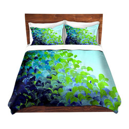 DiaNoche Designs - Duvet Cover Twill by Julia Di Sano - Creation in Color Blue Green - Lightweight and soft brushed twill Duvet Cover sizes Twin, Queen, King.  SHAMS NOT INCLUDED.  This duvet is designed to wash upon arrival for maximum softness.   Each duvet starts by looming the fabric and cutting to the size ordered.  The Image is printed and your Duvet Cover is meticulously sewn together with ties in each corner and a concealed zip closure.  All in the USA!!  Poly top with a Cotton Poly underside.  Dye Sublimation printing permanently adheres the ink to the material for long life and durability. Printed top, cream colored bottom, Machine Washable, Product may vary slightly from image.