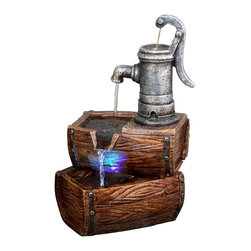 Alpine Fountains - Two Tier Barrel Fountain w LED Lights - Made of Fiberglass. 1 Year Limited Warranty. Assembly Required. Overall Dimensions: 9 in. L x 7 in. W x 14 in. H (3.85 lbs)Our newest line of fiberglass fountains have the look of natural stone with the strength and durability of fiberglass. Multiple streams of water flow creates a relaxing and meditative atmosphere. They can be placed indoors or out.