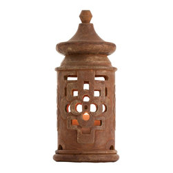 Arteriors - La Flor Lantern - This lightweight concrete lantern finished to look like terracotta, is inspired by an old Mexican archterical element uncovered during the construction of a flower bed.