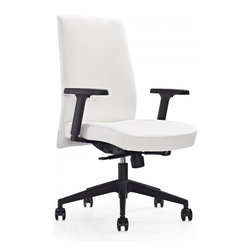 White Line Imports - Columbia Low Back Office Chair in White - Features: