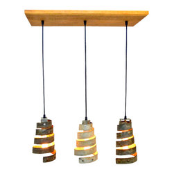 """Wine Country Craftsman - """"Caledonia"""" - Reclaimed Barn Wood and Wine Barrel Ring Adjustable Chandelier - We recently acquired a small treasure trove of old redwood bard wood; the color and depth of the aged wood goes so deliciously with our recycled wine barrel ring lights!"""