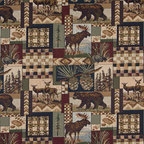 Bears Deer Moose Acorns Pine Trees Themed Tapestry Upholstery Fabric By The Yard - P1410 is an upholstery grade tapestry novelty fabric. This fabric is excellent for cabins, lodges, homes and commercial uses.