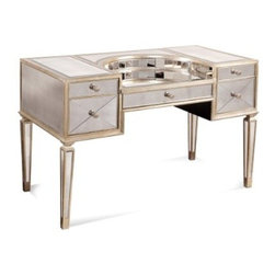 "Basett Mirror - Borghese Mirrored Desk - The Borghese Mirrored Desk (Antique Mirror & Silver Leaf Finish) has the following features: Manufactured by Bassett Mirror. Part of the Borghese Collection. Made of glass in a mirror and silver finish. One of our transitional and antique-styled desks that will work in almost any office. Dimensions: 50"" x 25"" x 34"" H. Weight: 199 lbs."