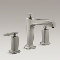 KOHLER - KOHLER Margaux(R) deck-mount bath faucet trim for high-flow valve with diverter - Blending traditional design with contemporary accents, Margaux faucets and accessories are an ideal complement to any modern bathroom. This bath faucet trim embodies Margaux's minimalist style with its fluid silhouette and sleek, ergonomic lever handles. The trim also features a diverter knob. Pair this trim with high-flow ceramic disc valves with diverter for optimal performance.
