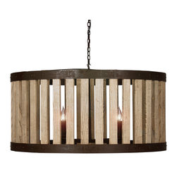 "Kathy Kuo Home - Reclaimed Elm Wood Rustic Barrel Pendant Light - ""Bask in the gentle glow of contrast-finish reclaimed elm, and three bulbs elegantly diffused by rustic metal bars.  More Dwell Magazine than Dodge City, this fixture evokes the utilitarian use of wagon wheels and wine barrel fixtures, but with an entirely modern perspective."