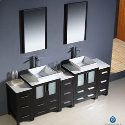 "Fresca - Fresca Torino 84"" Modern Double Vessel Sink Vanity Set w/ 3 Side Cabinets - Fresca is pleased to usher in a new age of customization with the introduction of its Torino line. The frosted glass panels of the doors balance out the sleek and modern lines of Torino, making it fit perfectly in either 'Town' or 'Country' decor. Available in the rich finishes of Espresso, Glossy White, Light Oak and Walnut Brown, all of the vanities in the Torino line come with either a ceramic vessel bowl or the option of a sleek modern ceramic integrated sink."