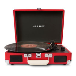 Crosley Radio - Cruiser 3-Speed Portable Turntable, Red - Belt driven turntable mechanism.