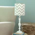 Taupe Zig Zag Lamp with Shade - Our exclusive hand painted lamp base features a trendy Taupe Zig Zag fabric shade. It's the perfect accessory to compliment your bedding collection.