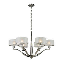 Elk Lighting - Elk Lighting-31294/6-Corisande - Six Light Chandelier - The Corisande Collection Brings Together Various Designer Elements To Create A Stunning Free-Flowing Presentation. Twisted Arms Radiate From A Solid Crystal Center Column Which Gracefully Support Clear Crystal Balls, Frosted Glass Diffusers�And Silver Organza Drum Shades.� The Shades Are Cleverly Held By Clear Glass Discs With No Visible Connecting Hardware, Giving The Appearance That They Are Free Floating.� A Polished Nickel Finish Completes This Bold Statement.