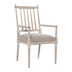 Kathy Kuo Home - Coyle Shabby French Antique White Dining Arm Chair - With its open back, this stylish seat creates an open and airy feel, creating drama and detail in any dining or eating room.