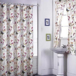None - Garden Flowers Shower Curtain Set and Window Set - Rejuvenate your bathroom with this floral shower and window curtain set. Featuring butterflies and flowers,this lovely set will bring a touch of the outdoors in,adding a fresh,new look. The liner will keep your floor dry during a shower or bath.