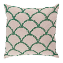 """Surya COM008-1818D 40% Cotton 18"""" x 18"""" Decorative Pillow - With a lovely pattern resembling scales, this pillow is on trend. Colors of holly green and peach cream accent this decorative pillow. This pillow contains a down fill and a zipper closure. Add this 18"""" x 18"""" pillow to your collection today. Filler: Down Feathers. Shape: Square"""