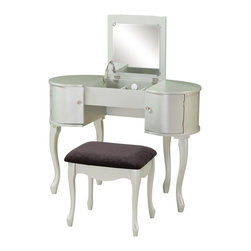 Linon Home Decor - Linon Home Decor Paloma Vanity Set X-U10LIS524085 - Glamorous in its design, the Paloma Vanity Set has a unique rounded style. A flip top lifts to reveal a large mirror and hidden storage space. Doors opens on each side of the vanity providing additional storage space. Small round silver knobs grace the fronts of the doors. A complementary stool has curvy legs and is topped with a grey microfiber seat. Ideal for a contemporary or modern space.