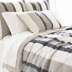 Pine Cone Hill - PCH Painted Stripes Linen Gray Duvet Cover - The Painted Stripes duvet cover boasts thick brushstrokes in a neutral modern palette. Chic and soft, PCH delivers style and comfort with this versatile bedding accent. Available in twin, full and king; 100% linen; Gray and ivory; Sand-colored reverse; Button closure; Designed by Pine Cone Hill, an Annie Selke company; Machine wash