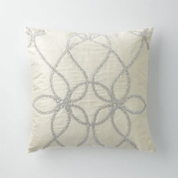 """Lili Alessandra - Lili Alessandra 22""""Sq. Ivory Silk Pillow with Silver Trim - Applique bed linens of silver and ivory velvet are as luxurious to the touch as they are to the eye. By Lili Alessandra. Imported. Velvet is viscose/cotton blend. European shams match duvet covers. Standard and king shams and 22""""Sq. accent pillow ma..."""