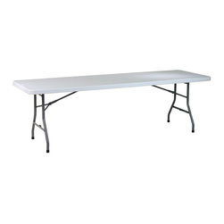 Office Star - 8 Foot Resin Multi-Purpose Folding Table - Entertain your guests in style by presenting your entrees on this 8 foot multi-purpose table!  With durable resin construction and a sleek metal frame, this is just what you need to have ample table space for your parties. * Resin construction. Metal Frame. 96 in. W x 30 in. D x 29.25 in. H. 96 in. W x 30 in. D x 29.25 in. H