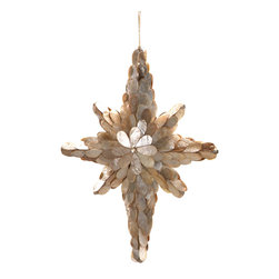 Elaborate Capiz Star Ornament - Simple and beautifully constructed of shimmering, irridescent capiz shell, the Elaborate Star Ornament is a darling addition to your tree and perfectly charming for a coastal abode. A delicate merging of shells and the holiday season make these a wonderful finishing touch to your decor that adds whimsy and a touch of glamour to your tree.