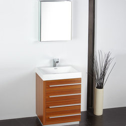 "Fresca - Fresca Livello 24"" Teak Modern Bathroom Vanity W /Faucet & Medicine Cabinet - At a width of 23.38"" and a height of 33.35"", the Fresca Livello bathroom vanity is perfect for smaller spaces. With a minimalistic and contemporary design, this vanity will make your bathroom feel like a modern oasis. Complete with four, slow closing 18.63"" deep pull out drawers the Fresca Livello bathroom vanity offers ample storage for all of your washroom necessities. The19.5"" wide x 26"" high x 5"" deep medicine cabinet provides additional storage while enhancing the aesthetics offered by this contemporary vanity. The Fresca Livello comes with a durable acrylic sink that is less likely to break then traditional ceramic options. These bathroom sinks also clean better, making them ideal for homes with smaller children.Items included: Vanity, Medicine Cabinet, Sink, Faucet, P-Trap and Pop-Up Drain, Standard hardware needed for installation.DecorPlanet is proud to offer Fresca Bathroom products. Fresca is a leading manufacturer of high-quality vanities, accessories, toilets, faucets, and everything else to give you the freshest bathroom in the neighborhood. Fresca is known for carrying the latest and most popular styles in modern and contemporary bathroom design that are made with high quality materials and superior workmanship."