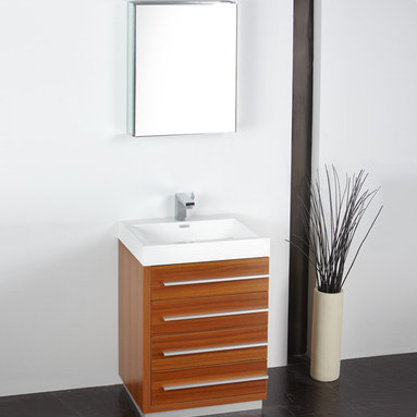 "Fresca - Fresca Livello 24"" Teak Modern Bathroom Vanity W /Faucet & Medicine Cabinet - At a width of 23.38"" and a height of 33.35"", the Fresca Livello bathroom vanity is perfect for smaller spaces. With a minimalistic and contemporary design, this vanity will make your bathroom feel like a modern oasis."