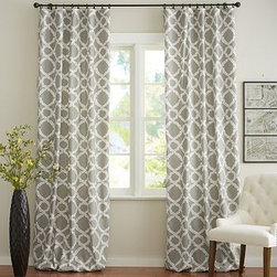 """Kendra Trellis Pole Pocket, 50 x 63"""", Brownstone - Printed with a classic trellis motif, our drape energizes a space with subtle movement and soothing color. 50"""" wide; available in four lengths Woven of a linen/cotton blend. Hangs from the pole pocket or converts to ring-top style with the 10 included drapery hooks. Use with our Round Rings (sold separately). Use with our Blackout Liner (sold separately) for enhanced light filtration. Watch a video on {{link path='/stylehouse/videos/videos/h2_v1_rel.html?cm_sp=Video_PIP-_-PBQUALITY-_-HANG_DRAPE' class='popup' width='420' height='300'}}how to hang a drape{{/link}}. Machine wash. Imported."""