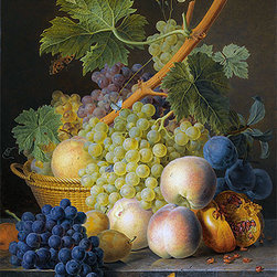 Still Life with Basket of Grapes and Peaches | Jan Frans van Dael | Canvas Print - Condition: Canvas Print - Unframed